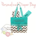 Personalized Diaper Bag -Turquoise, Grey Chevron Monogrammed Baby Tote, Changing Pad, Mommy Bag