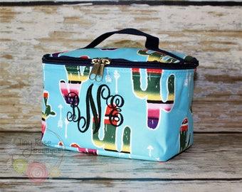Monogrammed Cosmetic Case, Serape Cactus Toiletry Bag, Makeup Bag