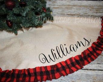Buffalo Check Ruffle Christmas Tree Skirt, Personalized Tree Skirt - Name or Monogram Included