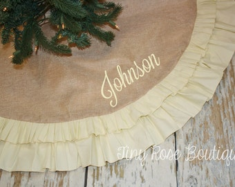Burlap and Ivory Ruffle Christmas Tree Skirt, Personalized Tree Skirt - Name or Monogram Included