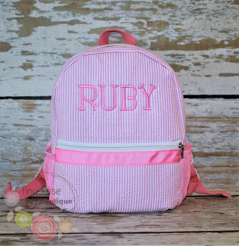 Toddler Girl Backpack  Seersucker Booksack  Personalized image 0