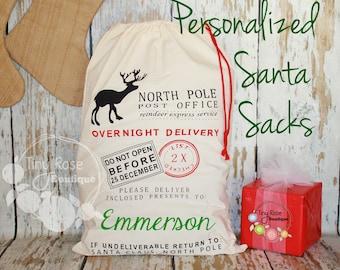 Personalized Santa Sack - Custom Name Christmas Gift Bag