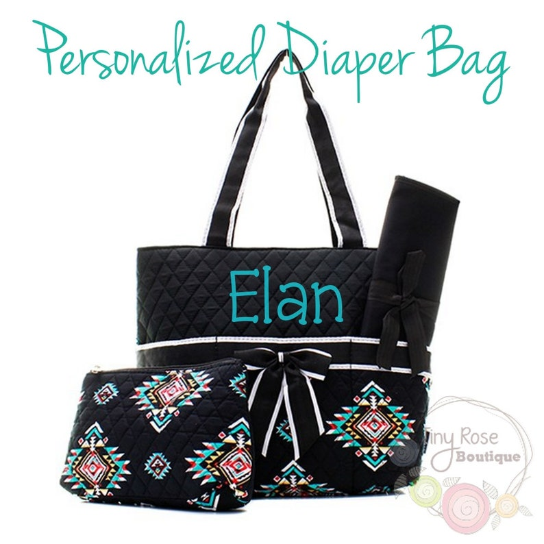 Personalized Diaper Bag Monogrammed Tribal Baby Tote Changing Pad Mommy Bag