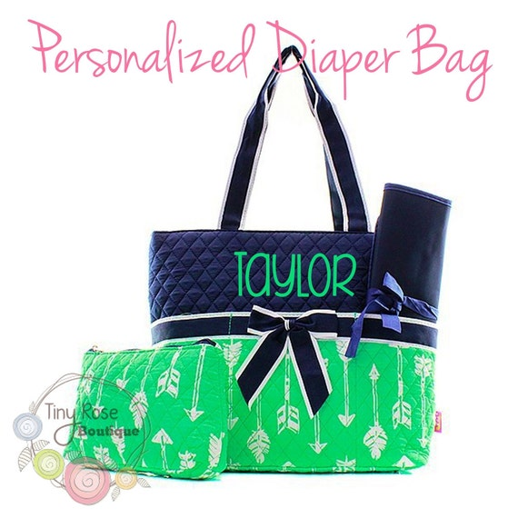 Personalized Diaper Bag Mint Arrow Monogrammed Baby Tote Changing Pad Mommy Bag