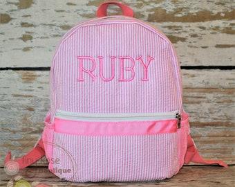 Toddler Girl Backpack - Seersucker Booksack - Personalized School Bag, Book Bag, Mini Backpack