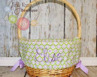 Easter Basket Liner - Personalized Basket Liner - Lavender and Spring Green