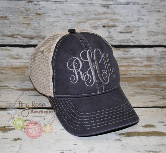 Comfort Color Trucker Hat Graphite Monogrammed Ball Cap  3871a4f58caf