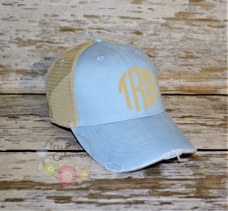 357813c63 Monogrammed Trucker Hat, Distressed Baby Blue Trucker Hat - Personalized  Ball Cap, Mesh Trucker Hat