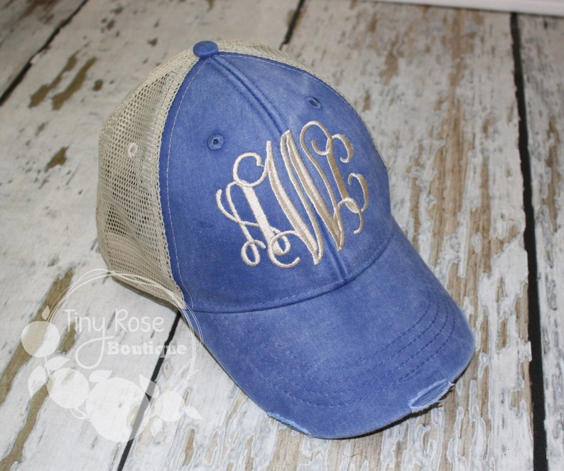 b0a04507f Monogrammed Trucker Hat, Distressed Royal Trucker Hat - Personalized Ball  Cap, Mesh Trucker Hat