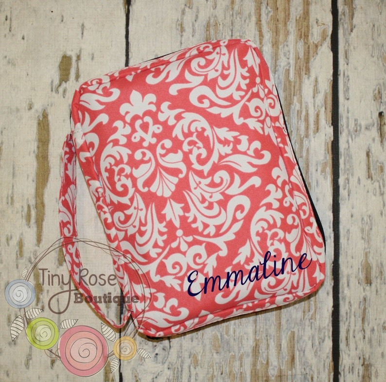 Personalized Bible Case Cover -Monogrammed Coral Damask Bible Travel Case