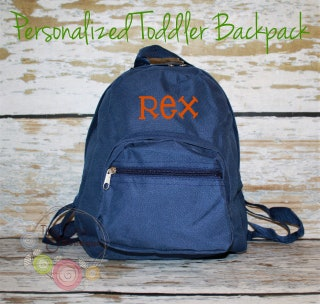 Toddler Boy Navy Backpack - Personalized School Bag, Book Bag, Mini Backpack