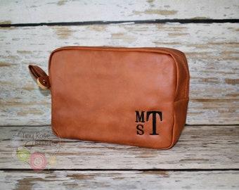 Men's Tan Shave Bag, Personalized Dopp Kit, Toiletry Travel Case