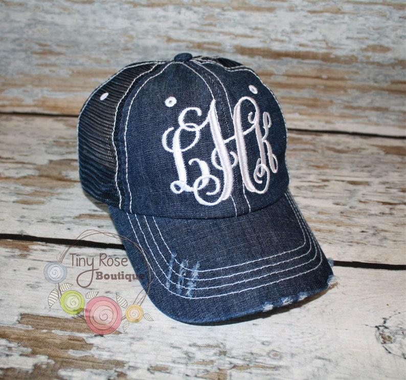 1dedfc56a Monogrammed Trucker Hat, Blue Denim Trucker Hat - Personalized Ball Cap,  Mesh Trucker Hat