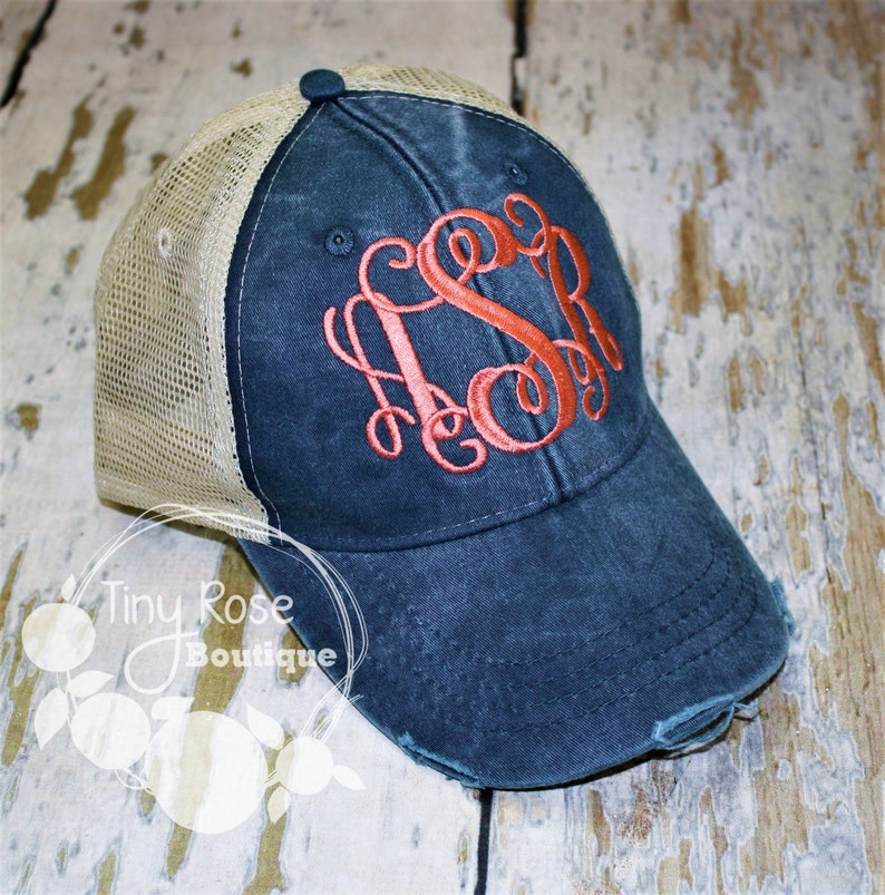 a6bf90efa Monogrammed Trucker Hat, Distressed Navy Trucker Hat - Personalized Ball  Cap, Mesh Trucker Hat
