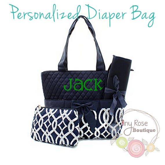 Personalized Diaper Bag Navy Trellis Monogrammed Baby Tote Changing Pad Mommy Bag