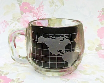 Vintage Nestle Map Hot Cocoa Glass