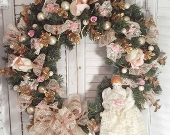 25 off sale christmas wreath with porcelain doll pink roses gold eucalyptus glass balls shabby cottage victorian style christmas decor