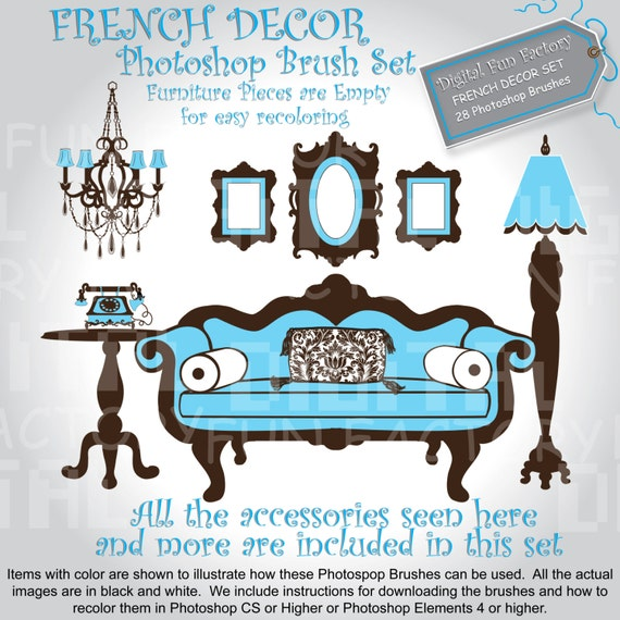 FRENCH Decor Furniture PHOTOshop BRUSH Set Clipart Graphic Design Clip Art  Easy Color Commercial and Personal Use 1014ff