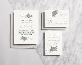 Printable Wedding Invitation Floral, Modern Wedding Invitations Boho, Minimal Wedding Invitation Suite Printable Botanical | Item no. GIL-01