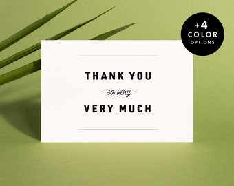 Printable Thank You Cards Set Modern, 5 colors, Instant Download Wedding Thank You Cards, Minimal Thank You Note Cards PDF | Item no. SAB-03