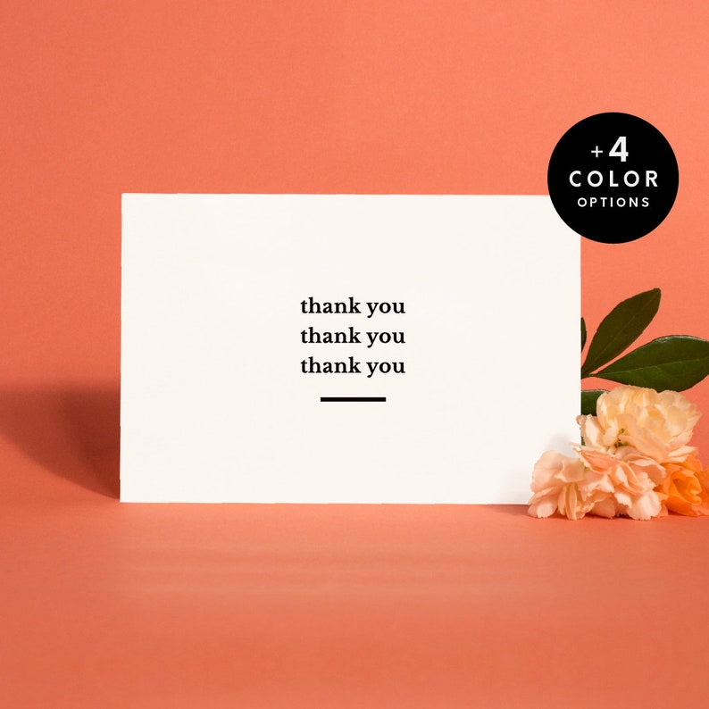 Printable Thank You Cards Set x 5 Instant Download Wedding image 0