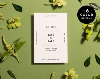 Minimalist Save The Date Cards Printable + 6 Colors, Modern Save The Date Postcard, Minimal Wedding Announcement PDF | Item no. SAB-02