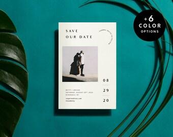 Printable Save The Date Cards Minimalist, 6 Color Options, Printable Save The Dates Postcard, Modern Custom Photo Card PDF | Item no. BET-02