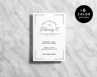 1920s Save The Date Printable (B&W + 6 Color Options, Art Deco Save The Date Cards, Simple Wedding Announcement Printable | Item no. BEN-02