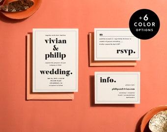 Modern Wedding Invitation Suite Printable, 6 Colors, Printable Wedding Invitations Minimalist, Wedding Invitation Set | Item no. VIV-01