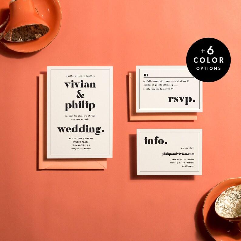 Modern Wedding Invitation Suite Printable 6 Colors Printable image 0