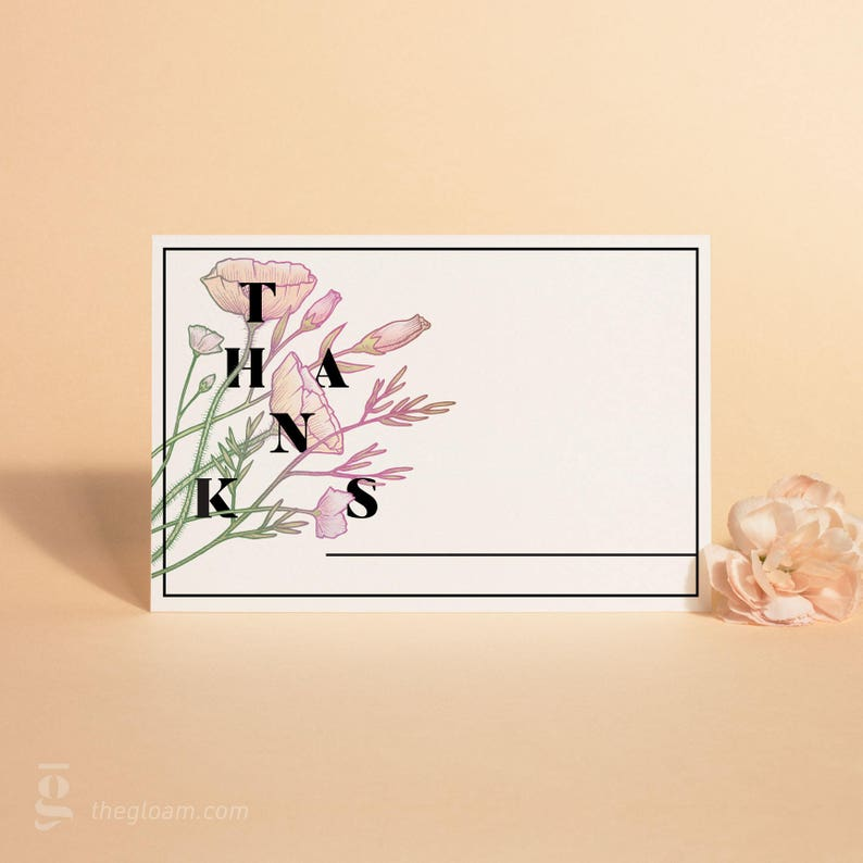 Floral Illustration Thank You Cards Printable Wedding Thank image 0