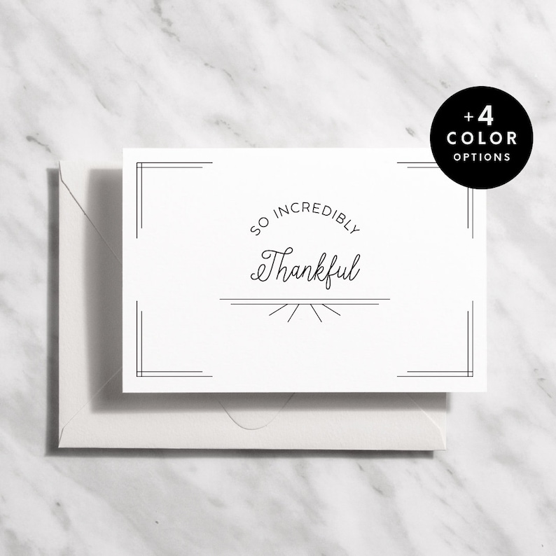 1920s Thank You Card Set B&W  4 Colors Instant Download image 1