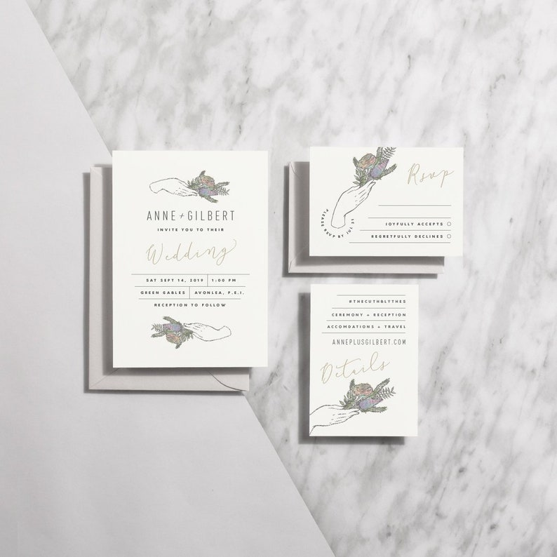 Printable Wedding Invitation Floral Modern Wedding image 0