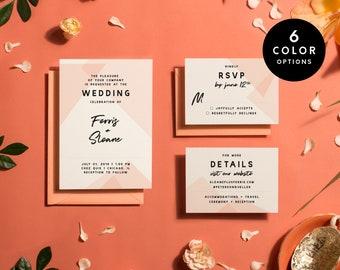 Modern Wedding Invitation Set Printable - 6 Colors, Geometric Wedding Invitation Printable pdf, Wedding Invites Minimalist | Item no. SLO-01