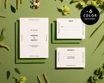 Minimalist Wedding Invitation Suite Printable, 6 Colors, Printable Invitation Set Modern, Wedding Invitation Simple PDF | Item no. SAB-01