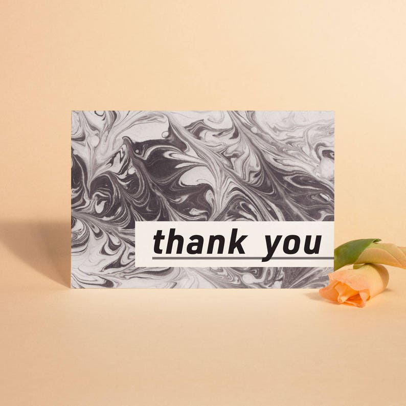 Modern Thank You Cards Printable Marble Thank You Cards image 0