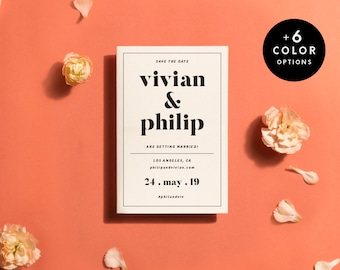 Modern Save The Date Cards Printable, 6 Colors, Save The Date Card Minimalist, Wedding Announcement PDF, Save The Dates | Item no. VIV-02