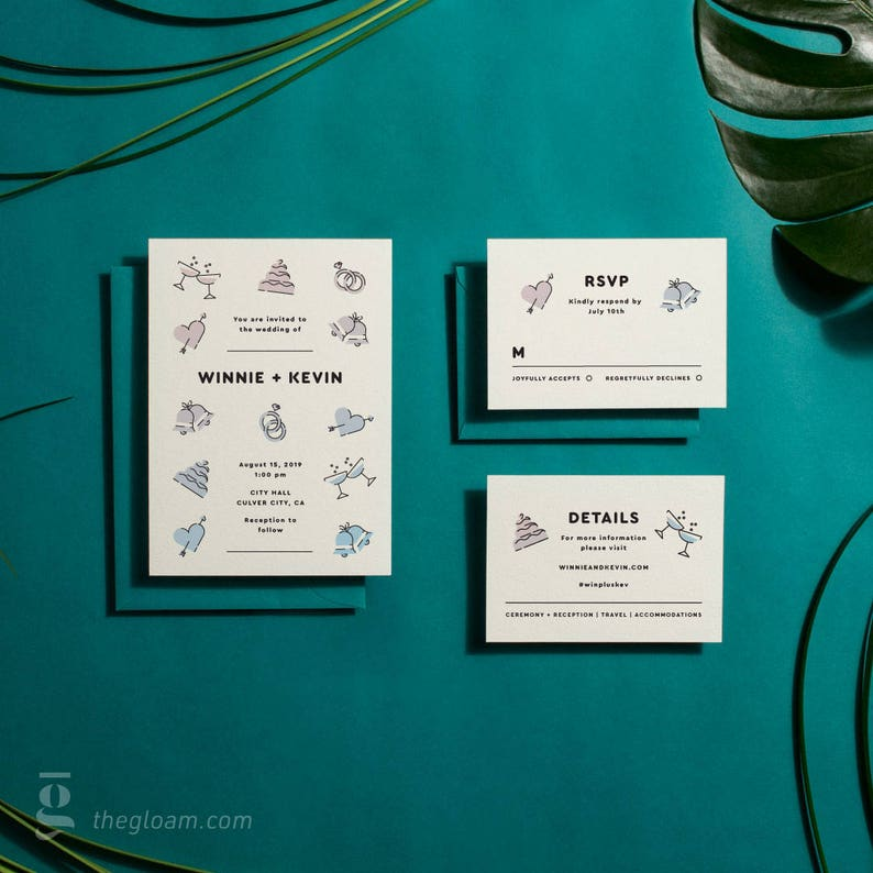 Printable Wedding Invitation Suite Modern Wedding Invitation image 0