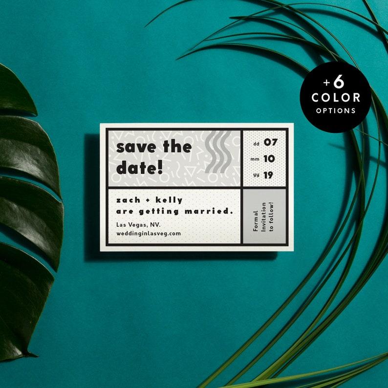 90s Save The Date Printable B&W  6 Color Options Printable image 0