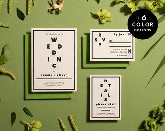 Printable Wedding Invitation Minimalist - 6 Colors, Wedding Invitation Printable, Wedding Invitation Set Black and white | Item no. CON-01