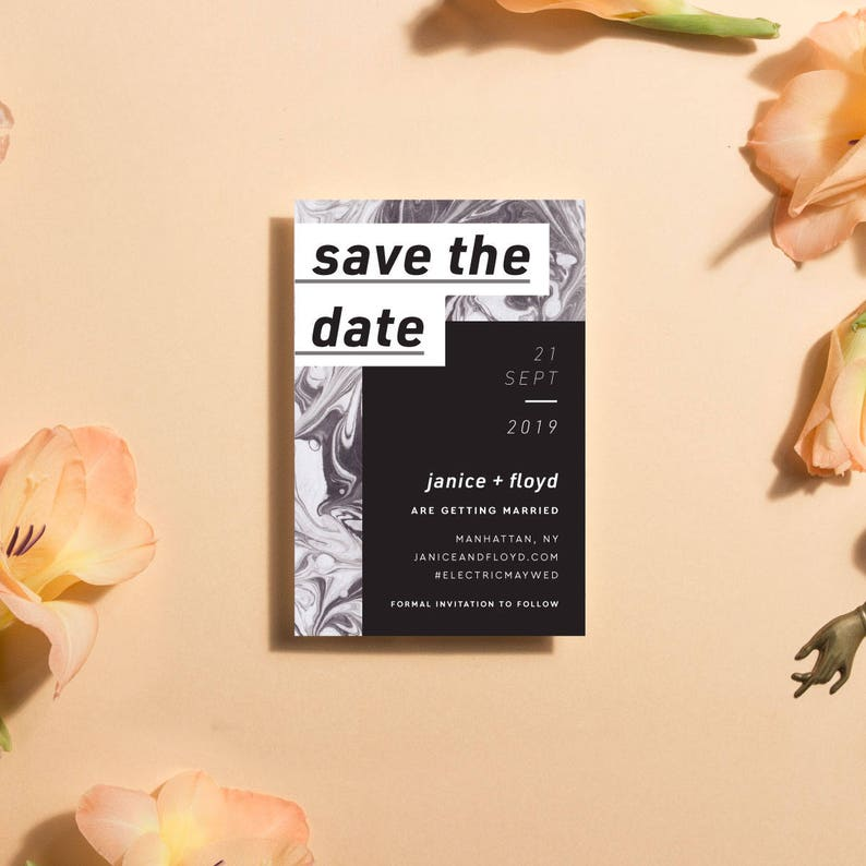 Printable Save The Date Cards Modern Marble Save The Date image 0