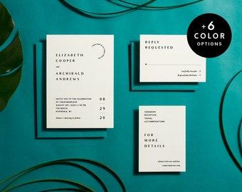 Printable Wedding Invitation Minimalist, 6 Color Options, Modern Wedding Invitation Suite Printable, Simple Invitation Set | Item no. BET-01