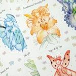 Wee Fae Vinyl Die Cut Sticker Sheets, fairy sticker, fae sticker, fantasy sticker, sticker sheet, fairy sticker sheet, by heather hitchman