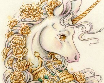 Golden Unicorn Art Etsy