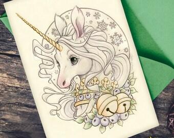 Sugarplum Unicorn Holiday Card - Christmas in Terratoff
