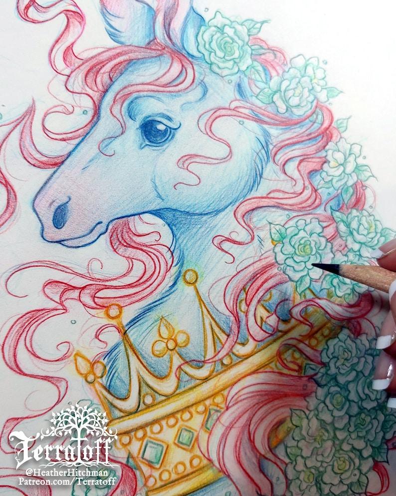 Giclee Unicorn Print: The Dark Unicorn Coronation Hitchman of Terratoff Limited Edition 5x7 Print Art by Heather R
