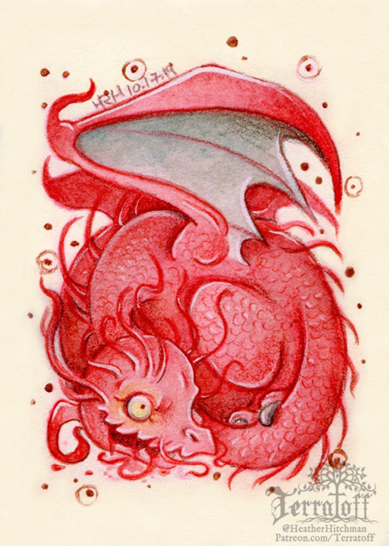 sleeping dragon Original ACEO Wee Red Rotten Wyvern Dragon Mixed Media Painting baby dragon dragon painting hitchman by heather R