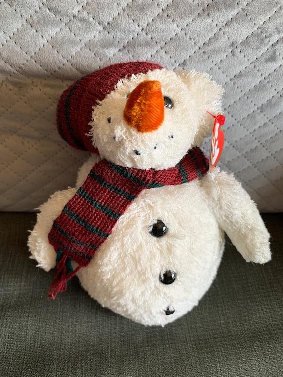 TY Snowball 2001 Holiday Snowman BEANIE BUDDY Christmas Decoration Plush NEW!