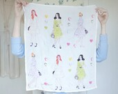 Sunday Stroll - Silk scarf printed with an original illustration by Caitlin Shearer