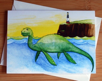 Nessie the Loch Ness Monster Greeting Card - Blank Inside